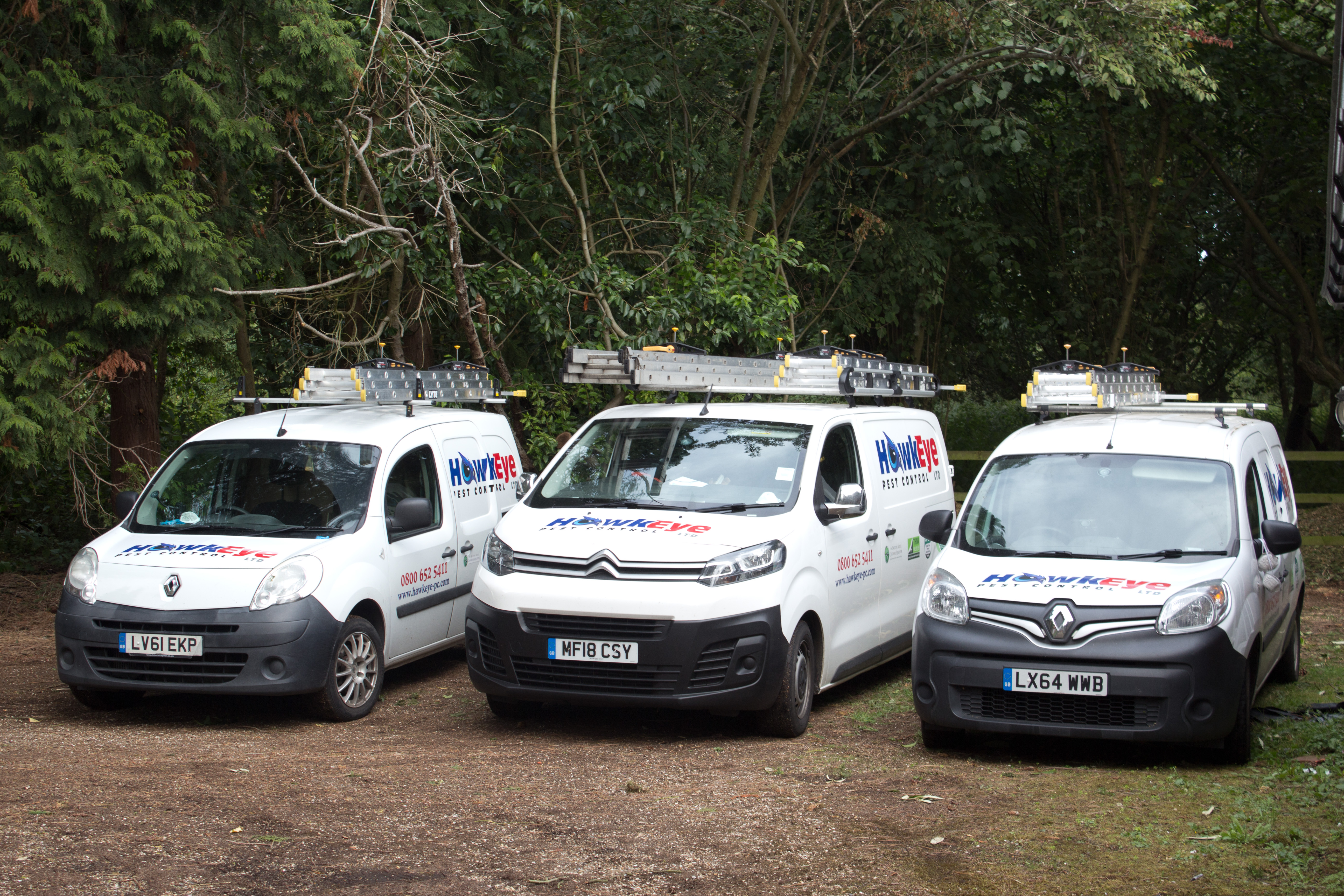 HawkEye fleet of pest control vans